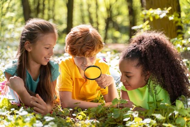 自然を一緒に探検する子供たち