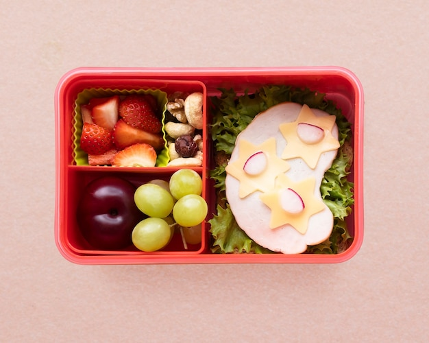 Kids food art bento, box with sandwich and strawberries