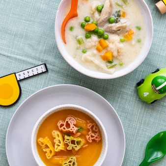 Kids food, carrot soup and chicken soup