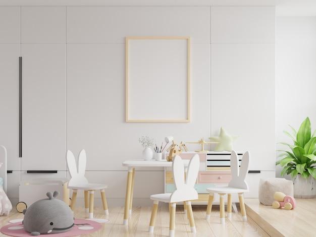벽 흰색 색상에 키즈 프레임 및 포스터 모형