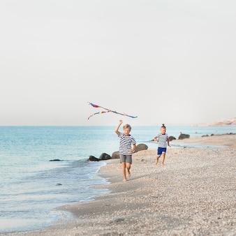 Kids having fun on the beach