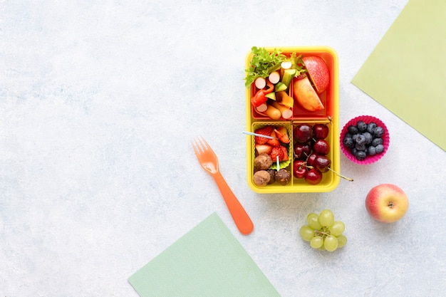 Kids healthy food background, preparation of lunchbox