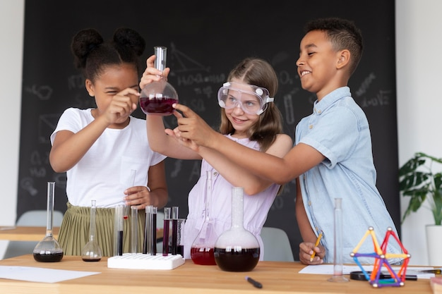 Kids learning more about chemistry in class