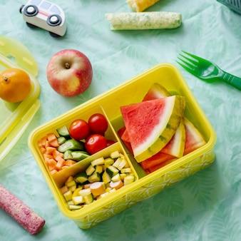 Kids picnic food box with watermelon and veggies
