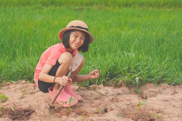 농업의 유기농 정원 농지에 야채를 심는 아이