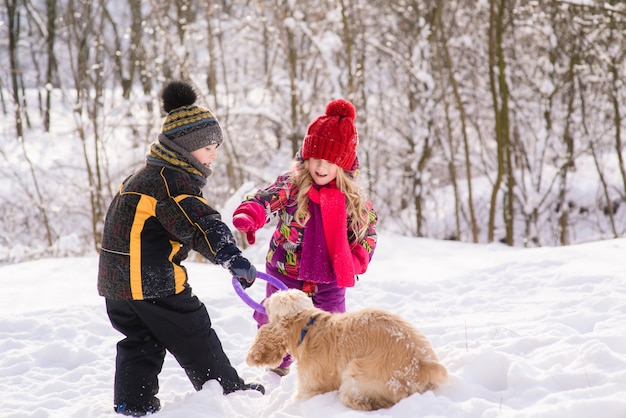 Kids play with dog in winter forest