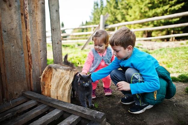 山の村で猫と遊ぶ子供たち。