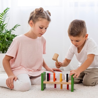 Kids playing with colorful game
