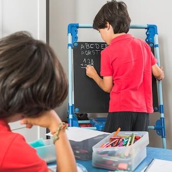 Kids in preschool studying together