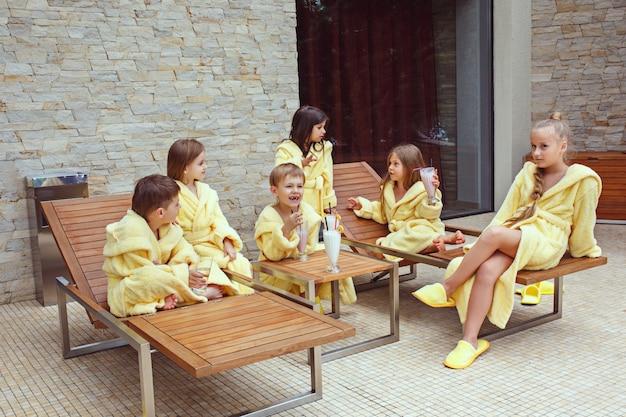 Kids relaxing in garden