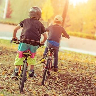 Дети, катающиеся на велосипедах в парке