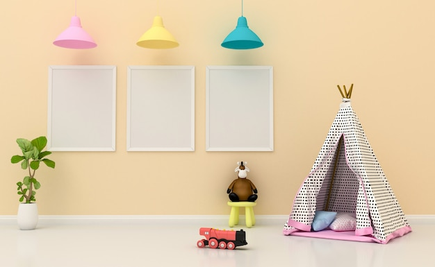 Kids room interior with cute decoration and blank photo frames on the wall. 3d rendering