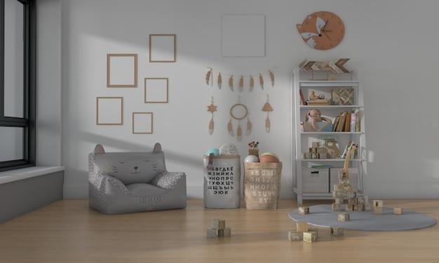 キッズルーム、プレイハウス、おもちゃと5フレームのモックアップ付きキッズ家具