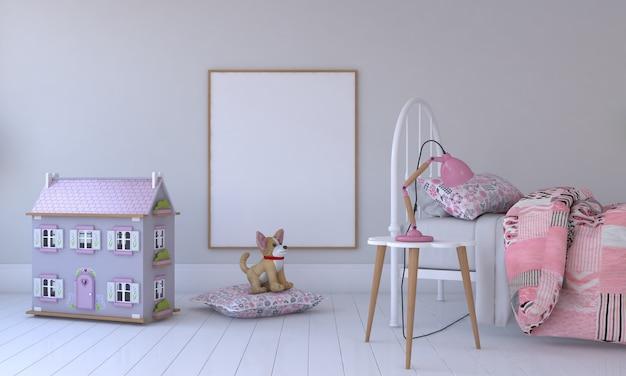 키즈 룸, 플레이 하우스, 장난감 및 프레임 모형이있는 어린이 가구