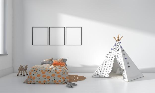 Детская комната, игровой домик, детская мебель с игрушкой и трехрамный макет