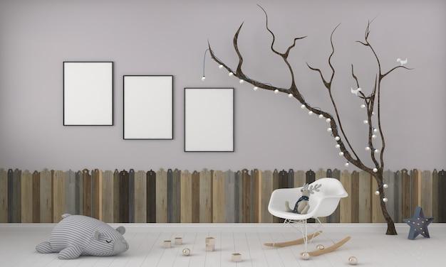 키즈 룸, 플레이 하우스, 장난감이있는 어린이 가구 및 3 프레임 모형