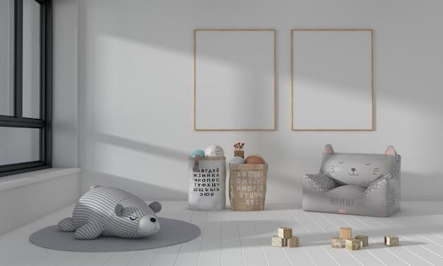 キッズルーム、プレイハウス、おもちゃと2フレームのモックアップ付きキッズ家具