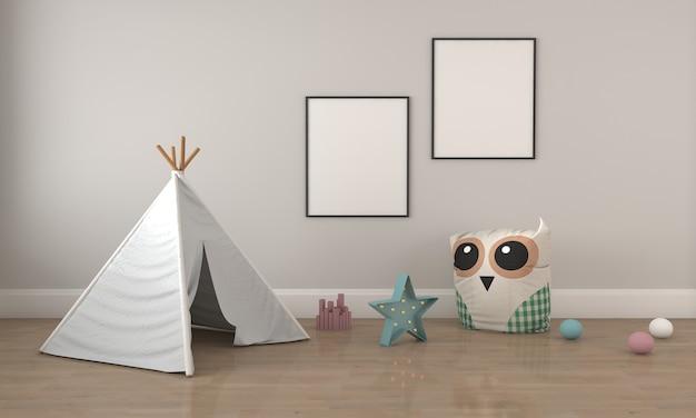 Детская комната, игровой домик, детская мебель с игрушкой и макет с двумя каркасами