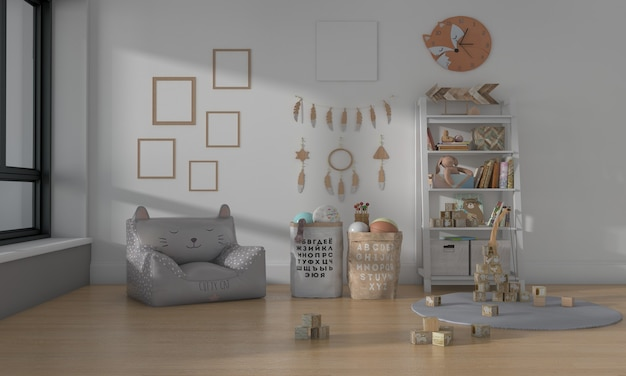 Kids room, play house, kids furniture with toy and five frame mockup