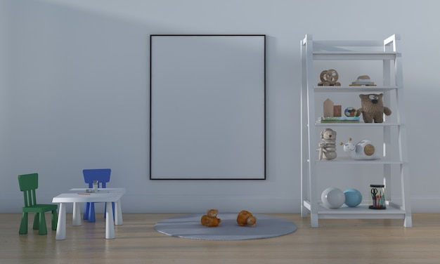 Kids room, play house, kids furniture with toy and frame mockup