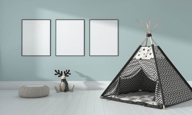 Kids room, play house, kids furniture with toy and three frame mockup