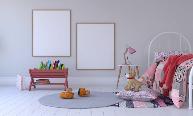 Kids room, play house, kids furniture with toy and two frame mockup