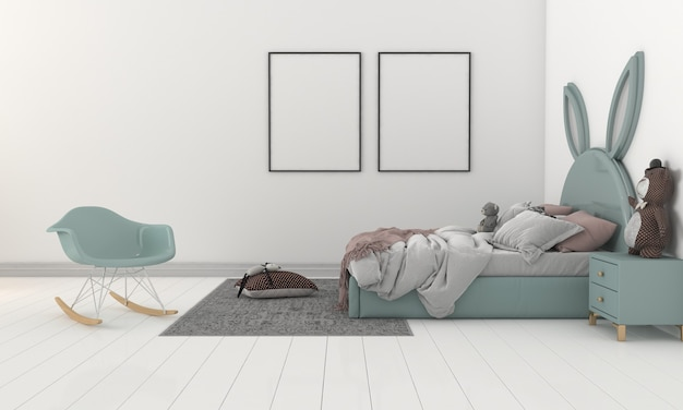 Kids room, play house, kids furniture with toy and two frames mockup