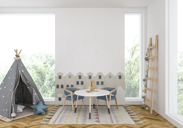 Kids room with blank wall