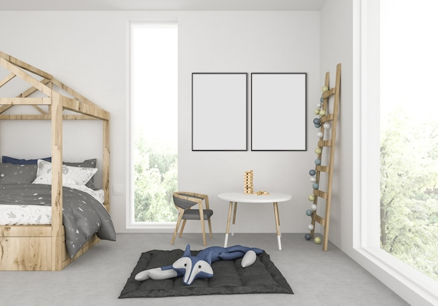 Kids room with empty double frames