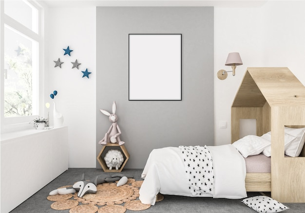 Kids room with empty vertical frame, artwork background, interior