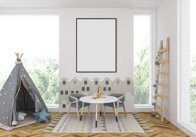 Kids room with empty vertical frame