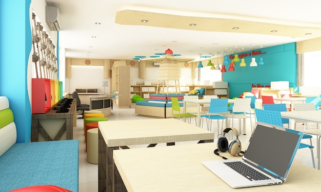 Дизайн интерьера детской школьной библиотеки для студента с красочными и деревянными. веселье и океан концепция 3d рендеринга