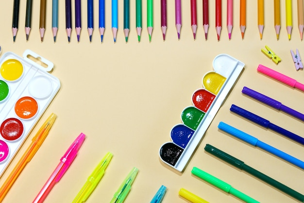 Kids stationery for teaching art painting equality flag or lgbt gay pride or beautiful life concept