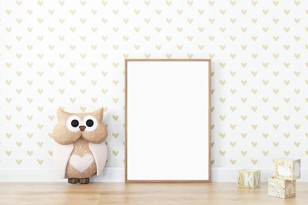 Kids style mock up frame wood with cute owl boho styl