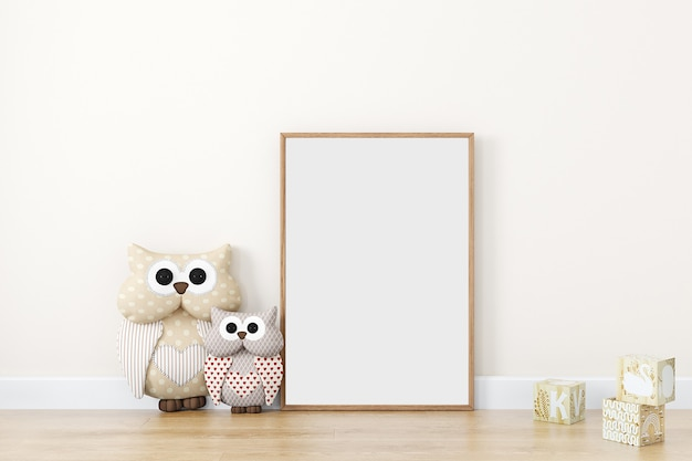 Kids style mock up frame wood with cute owls