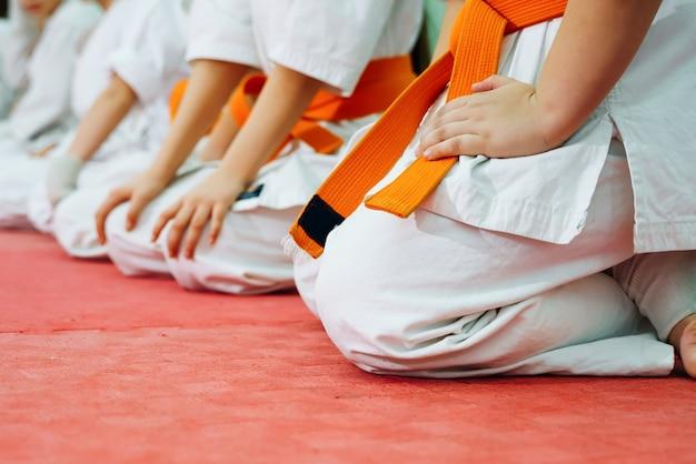 가라테에 훈련하는 아이들. 텍스트를위한 공간으로 배너. 웹 페이지 또는 광고 인쇄용.