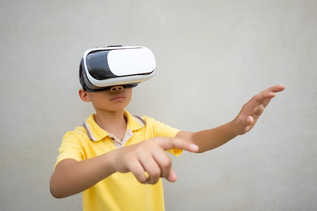 Kids wearing vr or virtual reality glasses