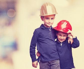 Kids with helmets