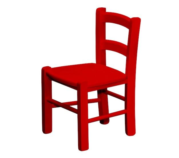 Детский деревянный красный стул, изолированные на белом фоне