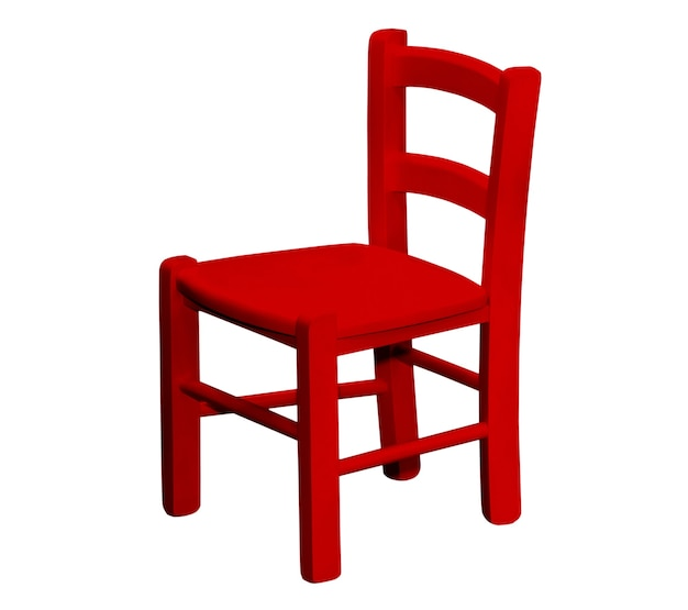 Kids wooden red chair isolated on white