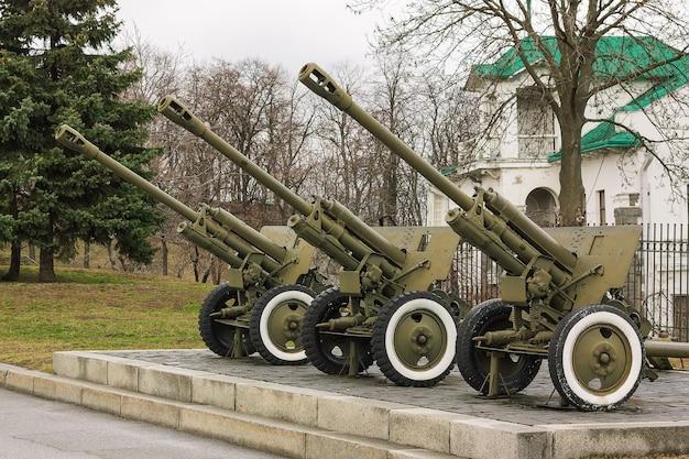 Kiev, ukraine - march 10, 2019: cannon artillery in the park of the great patriotic war in kiev