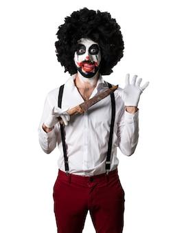 Killer clown with knife