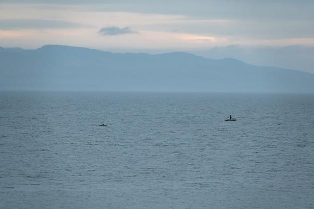 漁師のボートの近くでシャチが泳ぐ