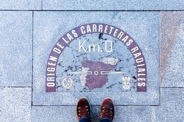 Kilometer zero in the center of madrid