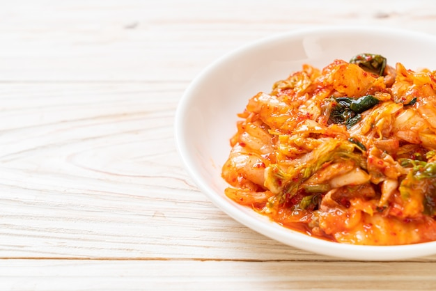 Kimchi cabbage on plate - korean traditional food style