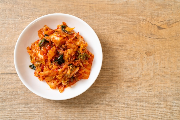 Kimchi cabbage on plate. korean traditional food style