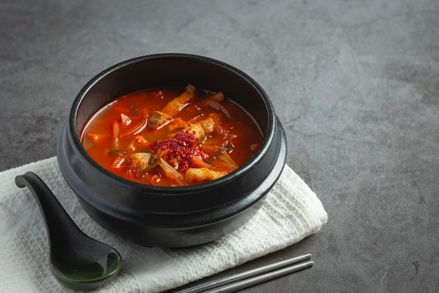 Kimchi jikae or kimchi soup ready to eat in bowl