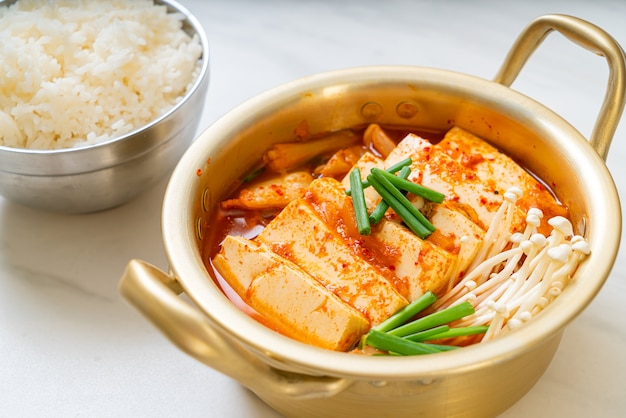 'kimchi jjigae' or kimchi soup with soft tofu or korean kimchi stew. korean food traditional style