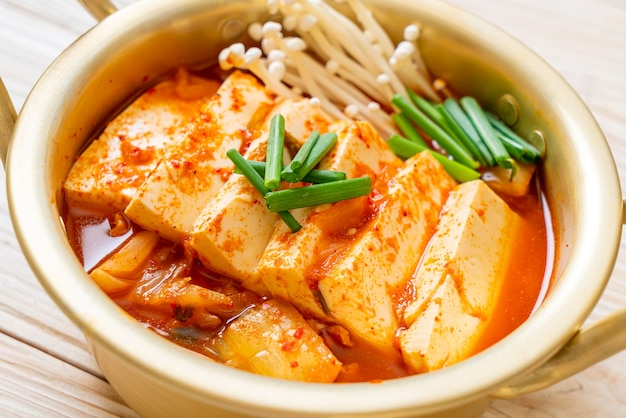 'kimchi jjigae' or kimchi soup with soft tofu or korean kimchi stew