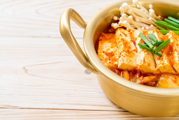 'kimchi jjigae' or kimchi soup with soft tofu